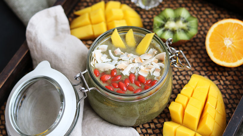 Tropical Green Smoothie Heaven In A Jar | Tofobo Family